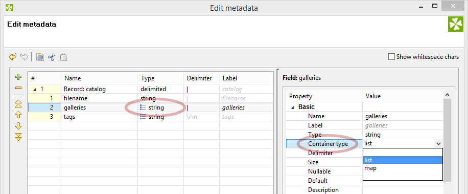 Parsing list data. Set CloverETL to list or map.