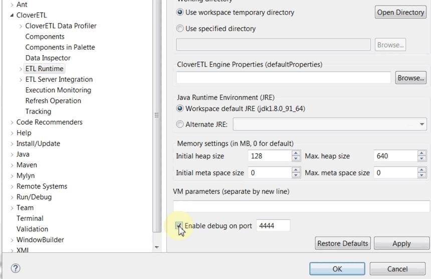 Code debugging: Enable Java debugging in CloverDX Designer's preferences