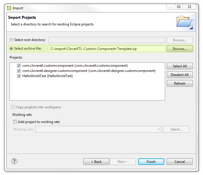 Creating Custom Component in CloverDX Step By Step: New Java Project wizard