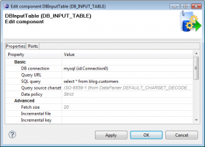 Export Data from a Database to Excel: DBInputTable Configuration - export data