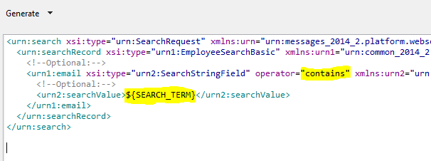 Creating right XML request for getting data from NetSuite