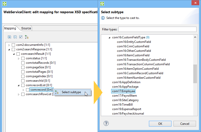 WebServiceClient response select subtype