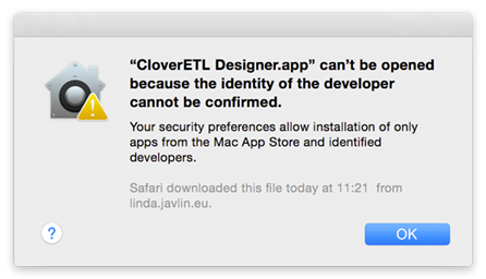 CloverDX Designer on Mac OS X Mavericks (Yosemite,...) and Gatekeeper Issue
